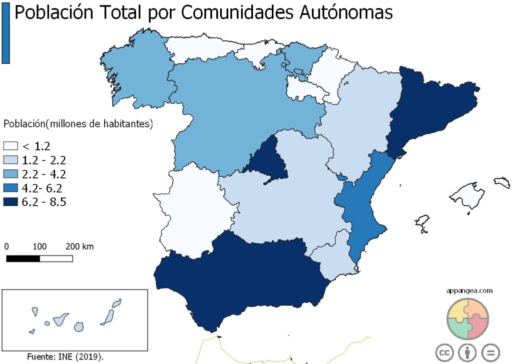 Población total por Comunidades Autónomas (España)