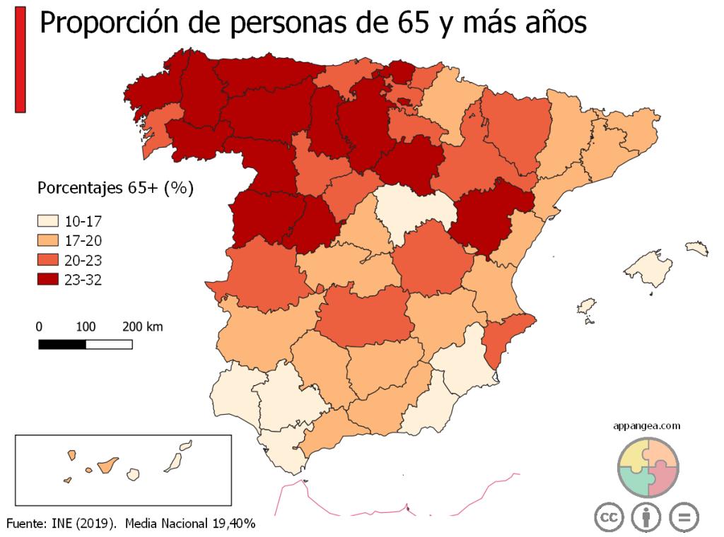 Proporción de población de 65 años o más